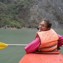 Jemma Kayaking in Halong Bay, Vietnam